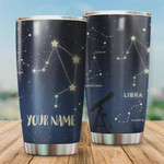 Personalized Zodiac Libra Stainless Steel Vacuum Insulated Double Wall Travel Tumbler With Lid, Tumbler Cups For Coffee/Tea, Perfect Gifts For Horoscope Sign Lovers On Birthday Mother's Day