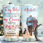 Old Couple Yorkshire Terrier Personalized Tumbler Cup To My Wife You Are My Queen Forever Stainless Steel Insulated Tumbler 20 Oz Best Gifts For Wife On Valentine Anniversary Birthday