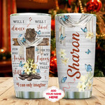Faith Butterfly Personalized Tumbler Cup, Christian Cross, Stainless Steel Vacuum Insulated Tumbler 20 Oz, Great Gifts For Birthday Christmas, Best Gifts For Friends, Relatives