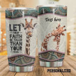 Personalized Name Giraffe Let Your Faith Be Taller Than Your Fears Stainless Steel Tumbler Tumbler Cups For Coffee/Tea Great Customized Gifts For Birthday Christmas Thanksgiving