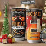Electric Guitar Personalized Tumbler Cup In My Head I Playing My Guitar Stainless Steel Vacuum Insulated Tumbler 20 Oz  Best Gifts For Guitarist On Birthday Christmas Thanksgiving Travel Tumbler