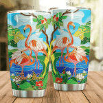 Personalized Flamingoes And The Tropical Jungle Stained Glass Style Tumbler Gifts For Flamingo Lovers On Birthday Christmas 20 Oz Sports Bottle Stainless Steel Vacuum Insulated Tumbler