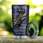 Skull Electrician Hourly Rate God Said Let There Be Light Stainless Steel Tumbler 20 Oz, Gifts For Birthday Christmas Thanksgiving, Perfect Gifts For Skull Lovers, Coffee/ Tea Tumbler