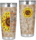 Personalized Sunflower To My Mom You Are My Sunshine Tumbler I Am Because You Are Gifts For Mom, Mom Gifts Birthday Xmas Mother's Day 20oz Stainless Steel Tumbler