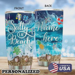 Personalized Turtle Salty Beach, Blue Tumbler Stainless Steel Tumbler Perfect Gifts For Turtle Beach Lover 20 Oz Tumbler Cups For Coffee/Tea, Gifts For Birthday Christmas Thanksgiving