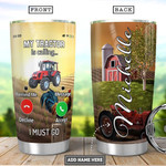 Tractor Personalized Tumbler Cup My Tractor Is Calling I Must Go Stainless Steel Vacuum Insulated Tumbler 20 Oz Coffee/ Tea Tumbler With Lid Great Gifts For Birthday Christmas Thanksgiving