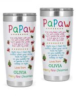 Personalized Papaw Tumbler Merry First Christmas Stainless Steel Vacuum Insulated Double Wall Travel Tumbler With Lid, Tumbler Cups For Coffee/Tea, Perfect Gifts For Dad On Birthday Christmas