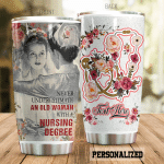 Personalized Nurse Never Underestimate An Old Woman With Nursing Degree Stainless Steel Tumbler, Tumbler Cups For Coffee/Tea, Great Customized Gifts For Birthday Christmas