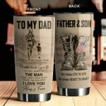 Personalized To My Dad So Much Of Me Is Made From What I Learned From You US Veteran Tumbler Best Gifts For Veteran Dad From Son Veterans Father's Day 20 Oz Sport Bottle Stainless Steel Vacuum Insulated Tumbler