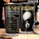 Billiard Pool Player Nutrition Facts Personalized Tumbler Cup Stainless Steel Vacuum Insulated Tumbler 20 Oz Coffee/ Tea Tumbler With Lid Great Gifts For Birthday Christmas Thanksgiving