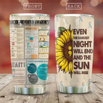 Suicide Prevention Awareness Sunflower Tumbler Cup Even The Darkest Night Will End Stainless Steel Vacuum Insulated Tumbler Tumbler Gifts For Birthday Christmas Thanksgiving Coffee/ Tea Tumbler