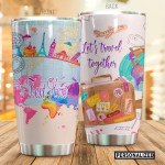 Personalized World Map Travelling Tumbler Let's Travel Together Tumbler Gifts For Travelling Lovers 20 Oz Sports Bottle Stainless Steel Vacuum Insulated Tumbler