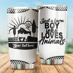 Personalized Just A Farm Boy Who Loves Animals Custom Name Farming Tumbler For Farm Boy In Daily Life Stainless Steel Vacuum Insulated Double Wall Travel Tumbler With Lid, Perfect Gifts For Birthday