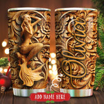 Mermaid Wooden Style Personalized Tumbler Cup Stainless Steel Vacuum Insulated Tumbler 20 Oz Great Gifts For Birthday Christmas Perfect Gifts For Mermaid Lovers Coffee/ Tea Tumbler With Lid
