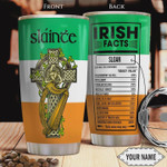 Irish Facts Personalized Tumbler Cup, Cross, Stainless Steel Vacuum Insulated Tumbler 20 Oz  Best Gifts For Birthday Christmas Thanksgiving St Patrick's Day Travel Tumbler With Lid