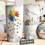 Elephant Motherhood Picture Autism Awareness Personalized Tumbler Cup Autism Different Stainless Steel Vacuum Insulated Tumbler 20 Oz Great Customized Gifts For Birthday Christmas Thanksgiving