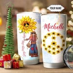 Personalized Peace Symbol And Sunflowers Tumbler Stay Trippy Little Hippie Tumbler Gifts For Hippies, Sunflowers Lovers 20 Oz Sports Bottle Stainless Steel Vacuum Insulated Tumbler