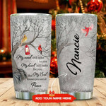 Cardinal Bird My Heart Still Looks For You Personalized Tumbler Cup, Travel Tumbler, Stainless Steel Insulated Tumbler 20 Oz, Great Birthday Gifts, Christmas Thanksgiving Gifts