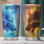 Fire And Ice Wolves, Blue And Yellow Tumbler, Stainless Steel Vacuum Insulated, 20 Oz Tumbler Cups For Coffee/Tea, Gifts For Birthday Christmas Thanksgiving, Perfect Gifts For Wolf Lovers