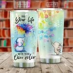 Elephant Color Tumbler Cup, Paint Your Life With Your Own Color, Stainless Steel Vacuum Insulated Tumbler 20 Oz, Tumbler For Coffee/ Tea, Great Customized Gifts For Birthday Christmas Thanksgiving