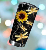 Dragonfly Sunflower You Never Walk Alone Tumbler Stainless Steel Tumbler, Tumbler Cups For Coffee/Tea, Great Customized Gifts For Birthday Christmas Thanksgiving