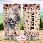 Personalized Skull And Pink Flowers Vintage Tumbler Gifts For Birthday Christmas Thanksgiving 20 Oz Sports Bottle Stainless Steel Vacuum Insulated Tumbler