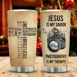 Jesus Is My Savior Photography Is My Therapy Tumbler Cup Stainless Steel Insulated Tumbler 20 Oz Tumbler For Coffee/ Tea With Lid Best Gifts For Photographer On Birthday Christmas Thanksgiving