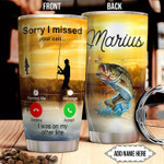 Fishing Calling Personalized Fish Picture Tumbler Cup Stainless Steel Vacuum Insulated Tumbler 20 Oz Tumbler Travel Tumbler With Lid Great Gifts For Birthday Christmas Thanksgiving