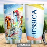 Horse Art Personalized Tumbler Cup Stainless Steel Insulated Tumbler 20 Oz Perfect Gifts For Horse Lovers Great Gifts For Birthday Christmas Thanksgiving Tumbler For Coffee/ Tea With Lid