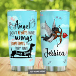 Black Dachshund Angel Personalized Tumbler Cup Stainless Steel Insulated Tumbler 20 Oz Tumbler For Dog Lovers Great Gifts For Birthday Christmas Thanksgiving Travelling Tumbler Camping Tumbler