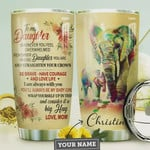 Mom Daughter Elephant Personalized Tumbler Cup, To My Daughter Be Brave Love Life, Stainless Steel Vacuum Insulated Tumbler 20 Oz, Best Gifts For Daughter On Birthday Christmas, Love Mom, Big Hug