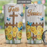 Personalized Blue Butterfly Faith Sunflower Fence Tumbler Cup Cross Stainless Steel Insulated Tumbler 20 Oz Great Gifts For Birthday Christmas Thanksgiving Best Gifts For Friends Relatives