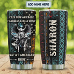 Personalized Native American Pride An Eagle A Wolf Stainless Steel Vacuum Insulated, 20 Oz Tumbler Cups For Coffee/Tea, Gifts For Birthday Christmas Thanksgiving, Perfect Gifts For Animal Lovers