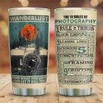 Camera Tumbler Cup, Wanderlust Find What You Love And Let It Kill You, The 10 Rule Of Photography, Stainless Steel Insulated Tumbler 20 Oz, Best Gifts For Birthday Christmas Thanksgiving