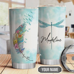 Flower Dragonfly Faith Personalized Tumbler Cup Light Blue Stainless Steel Vacuum Insulated Tumbler 20 Oz Great Gifts For Birthday Christmas Thanksgiving Travel Tumbler With Lid