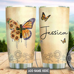 Personalized Sunflowers And Butterflies Cross Faith Tumbler Gifts For Butterfly Lovers On Birthday Christmas Thanksgiving 20 Oz Sports Bottle Stainless Steel Vacuum Insulated Tumbler