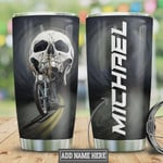 Personalized Biker Skull, Stainless Steel Vacuum Insulated Tumbler 20 Oz, Black Tumbler, Skull On Road, Perfect Gifts For Horror Lovers, Great Gifts For Birthday Halloween