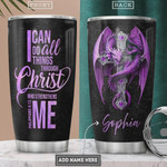 Purple Dragon Faith Personalized Tumbler Cup Christian Cross I Can Do All Things Through Christ Stainless Steel Vacuum Insulated Tumbler 20 Oz Great Gifts For Birthday Christmas Thanksgiving