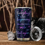 Personalized Hologram Happy Otter Everyday Is A New  Beginning Stainless Steel Tumbler, Tumbler Cups For Coffee/Tea, Great Customized Gifts For Birthday Christmas Thanksgiving