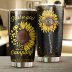 Personalized Just A Girl Who Loves Camping Sunflower Stainless Steel Tumbler, Tumbler Cups For Coffee/Tea, Great Customized Gifts For Birthday Christmas Thanksgiving