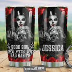Skull Personalized Good Girl With Bad Habits, Stainless Steel Tumbler, 20 Oz Insulated Tumbler Cup, Skull With Rose Best Gifts For Horror Lovers,Customized Gifts For Birthday Halloween
