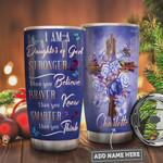 Blue Rose Faith Butterfly Personalized Tumbler Cup I Am A Daughter Of God Stainless Steel Vacuum Insulated Tumbler 20 Oz Great Gifts For Birthday Christmas Thanksgiving Coffee/ Tea Tumbler