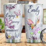 Butterfly Crystal Style Personalized Tumbler Cup Enjoy Every Moment Stainless Steel Vacuum Insulated Tumbler 20 Oz Perfect Customized Gifts For Birthday Christmas Thanksgiving Tumbler Travel