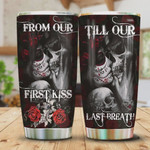 Skull Couple First Kiss Last Breath Stainless Steel Vacuum Insulated, 20 Oz Tumbler Cups For Coffee/Tea, Gifts For Birthday Christmas Thanksgiving, Perfect Gifts For Skull Lovers