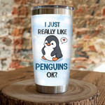 Penguin Steel Tumbler, Blue Cup, I Just Really Like Penguins, Insulated Tumbler 20 Oz,Lovely Penguin, Great Gifts For Birthday Christmas Thanksgiving, Coffee/Tea Tumbler, For Penguin Lovers