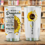 Sunflower Butterfly Personalized Tumbler Cup To My Dear Daughter Stainless Steel Insulated Tumbler 20 Oz Gift Ideas From Mom To Daughter Best Gifts For Birthday Christmas For Daughter