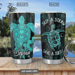 Personalized Turtle Tumbler Cup Skip A Straw Stainless Tumbler 20 Oz Tumbler Cups For Coffee/Tea Great Customized Gifts For Birthday Christmas Thanksgiving Perfect Gifts For Turtle Lovers