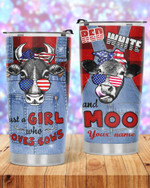 Personalized Just A Girl Who Loves Cows Stainless Steel Tumbler, Tumbler Cups For Coffee/Tea, Great Gifts For Birthday Christmas Thanksgiving
