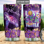 Personalized Flowers Purple Sea Turtle Tumbler Cup Love Sea Turtle Stainless Steel Insulated Tumbler 20 Oz Best Gifts For Birthday Christmas Thanksgiving Coffee/ Tea Tumbler With Lid