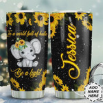 Sunflower Elephant Personalized Tumbler Cup, In A World Full Of Hate Be A Light, Tumbler Cups For Coffee/Tea, Stainless Steel Vacuum Insulated Tumbler 20 Oz, Best Birthday Gift, Christmas Gifts